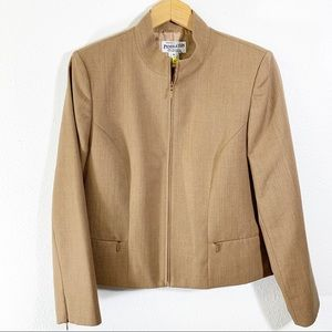 Pendleton Camel Zippered Blazer with Front Pockets